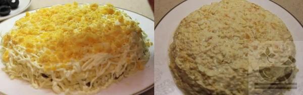 """Яичный желток в салате """"подсолнух"""""""