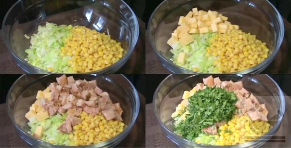 В салатнице соединяем все ингредиенты
