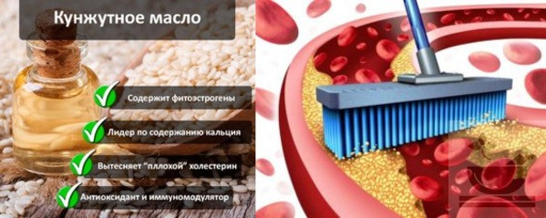 Удаление холестерина кунжутным маслом