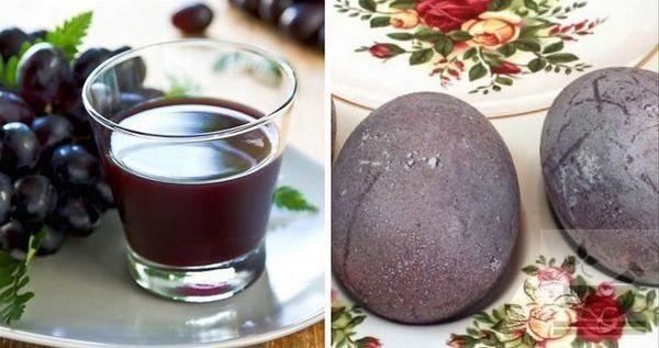Яйцо окрашиваем виноградным соком