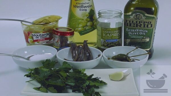Продукты для соуса к салату нисуаз