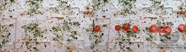 Сыр с помидорами выкладываем на лаваш
