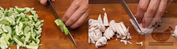 Нарезка огурцов и грудки для салата