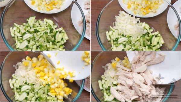 Соединяем ингредиенты салата