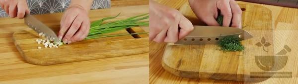 Подготавливаем для салата зелень