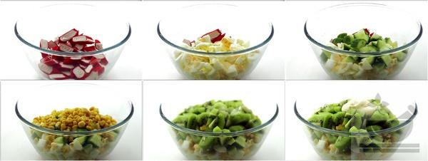 Приготовление салата с киви