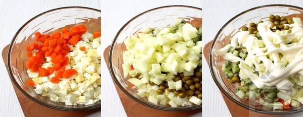 В салатник помещаем продукты