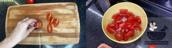 На четыре части режем помидоры
