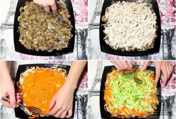 Выкладываем слои салата