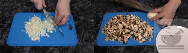 Нарезаем лук и грибы