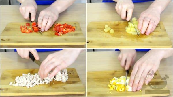 Нарезаем овощи для салата